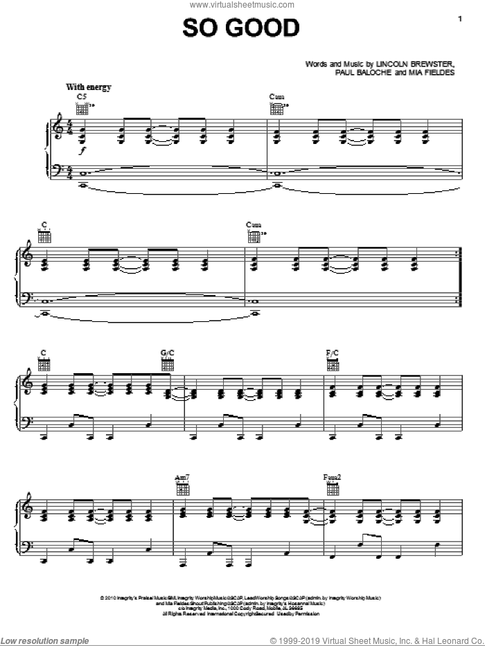 So Good sheet music for voice, piano or guitar by Lincoln Brewster, Mia Fieldes and Paul Baloche, intermediate skill level