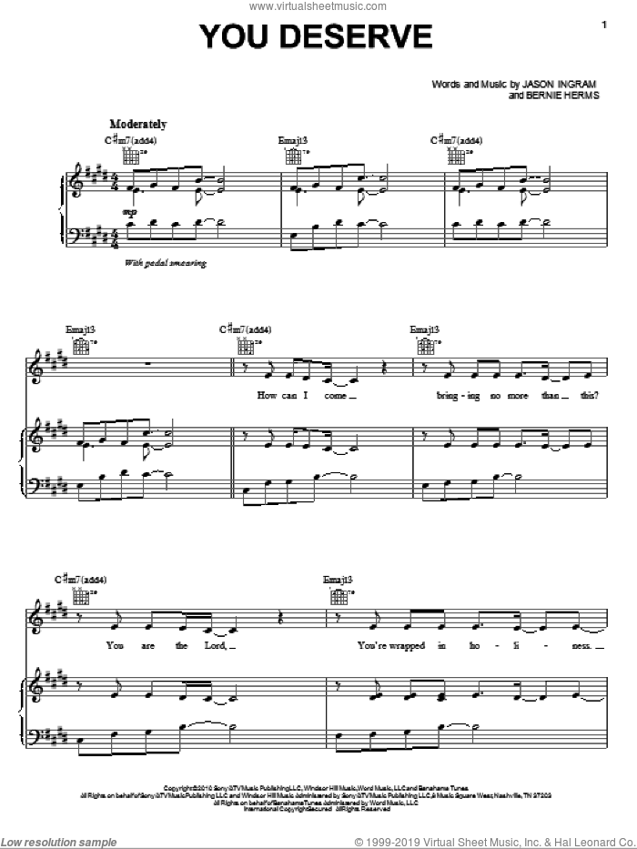 You Deserve sheet music for voice, piano or guitar by Natalie Grant, Bernie Herms and Jason Ingram, intermediate skill level