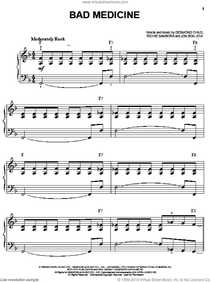 Bad Medicine sheet music for piano solo by Bon Jovi, Desmond Child and Richie Sambora, easy skill level