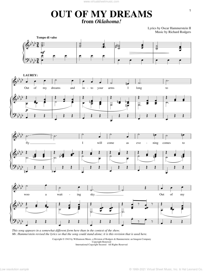 Out Of My Dreams (from Oklahoma!) sheet music for voice and piano by Rodgers & Hammerstein, Oklahoma! (Musical), Richard Walters, Oscar II Hammerstein and Richard Rodgers, intermediate skill level
