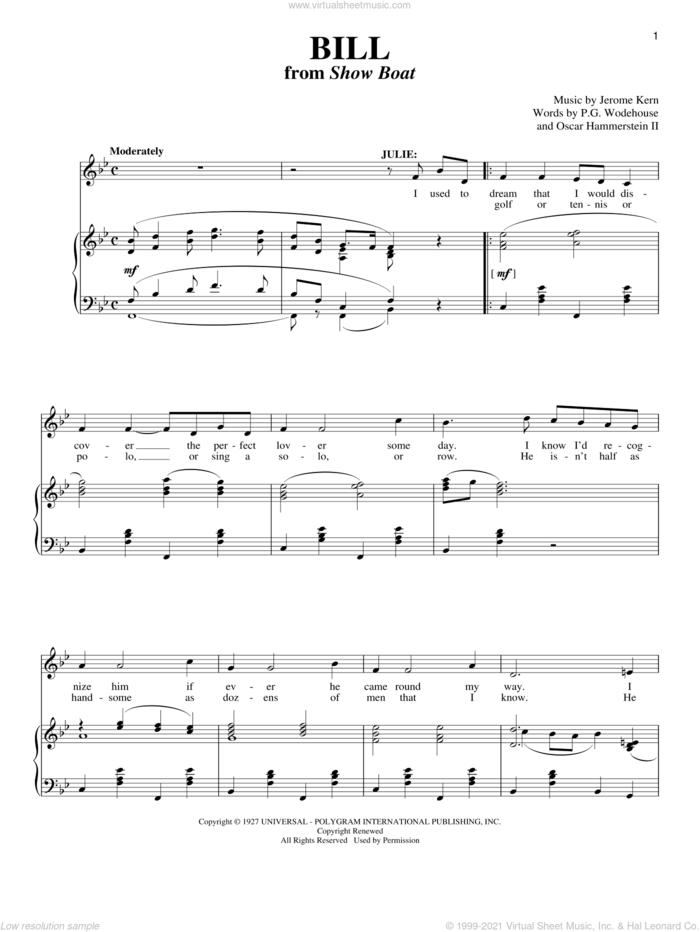 Bill sheet music for voice and piano by Jerome Kern, Show Boat (Musical), Richard Walters, Oscar II Hammerstein and P.G. Wodehouse, intermediate skill level