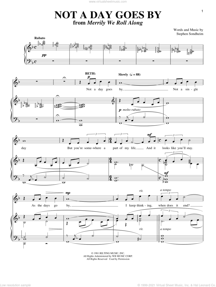 Not A Day Goes By sheet music for voice and piano by Stephen Sondheim and Richard Walters, intermediate skill level