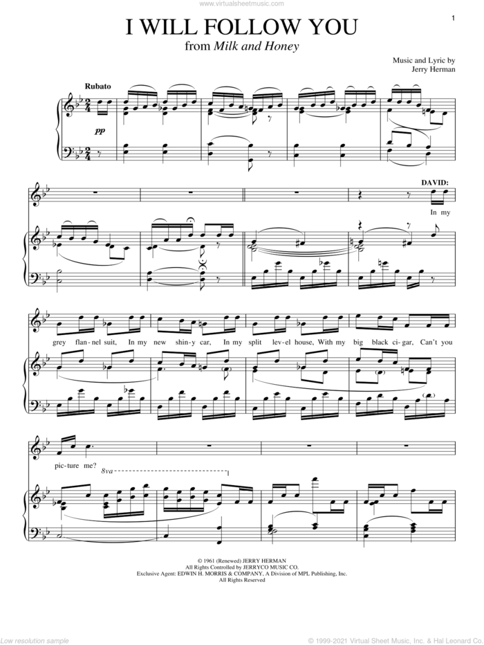I Will Follow You sheet music for voice and piano by Jerry Herman and Richard Walters, intermediate skill level