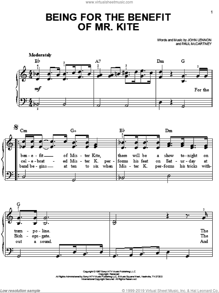Being For The Benefit Of Mr. Kite sheet music for piano solo by The Beatles, Across The Universe (Movie), John Lennon and Paul McCartney, easy skill level