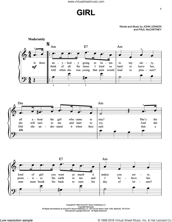 Girl sheet music for piano solo by The Beatles, Across The Universe (Movie), John Lennon and Paul McCartney, easy skill level