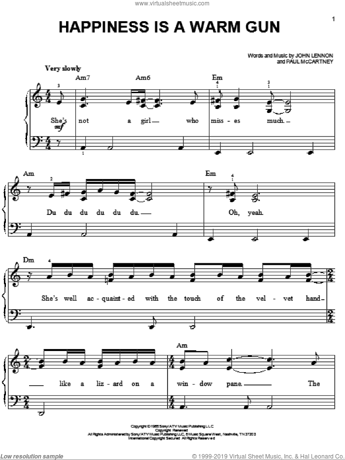Happiness Is A Warm Gun sheet music for piano solo by The Beatles, Across The Universe (Movie), John Lennon and Paul McCartney, easy skill level