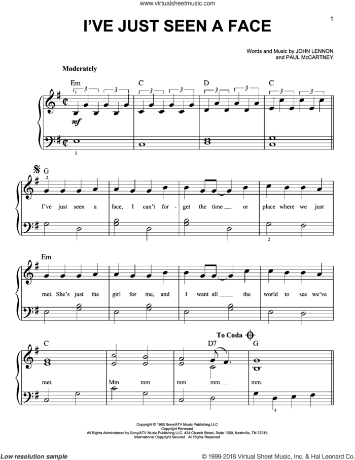 I've Just Seen A Face sheet music for piano solo by The Beatles, Across The Universe (Movie), John Lennon and Paul McCartney, easy skill level