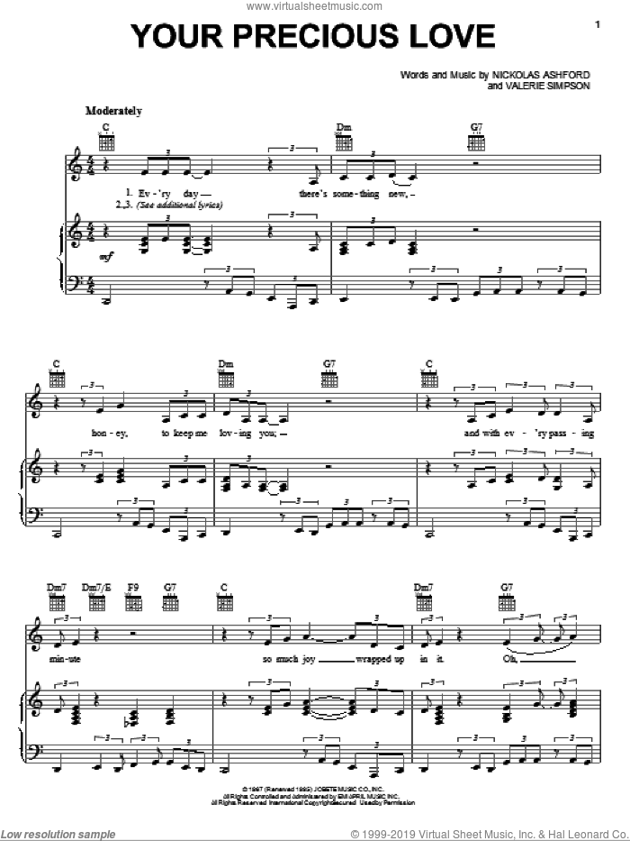 Your Precious Love sheet music for voice, piano or guitar by Marvin Gaye & Tammi Terrell, Ashford & Simpson, Marvin Gaye, Tammi Terrell, Nickolas Ashford and Valerie Simpson, intermediate skill level