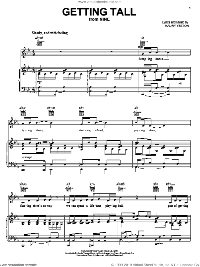 Getting Tall sheet music for voice, piano or guitar by Maury Yeston and Nine (Musical), intermediate skill level