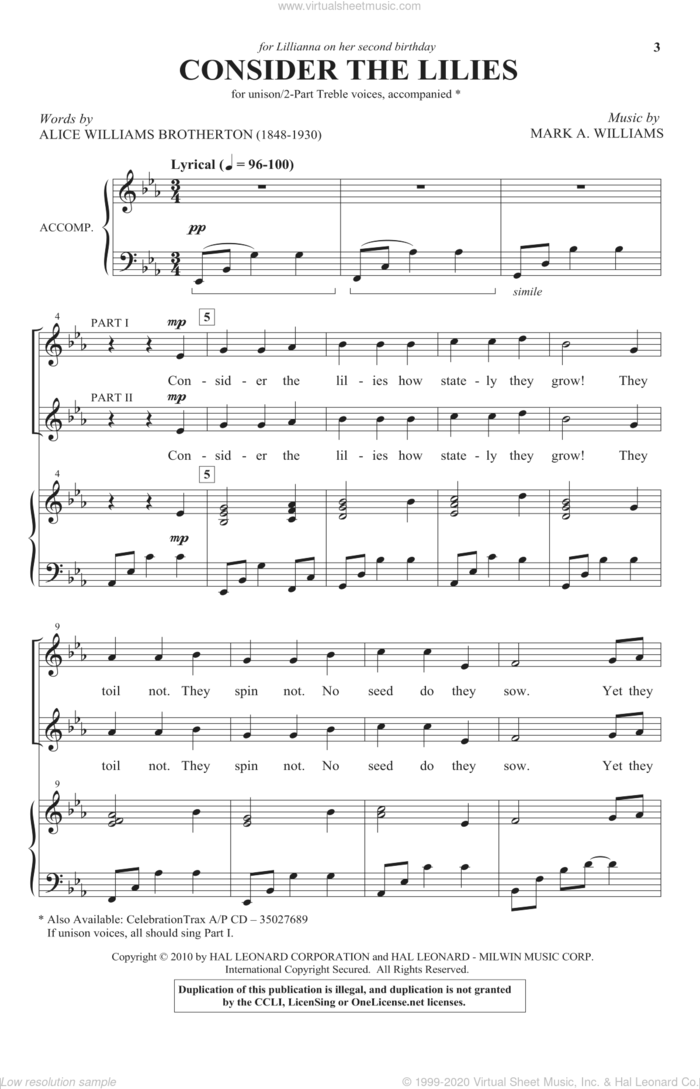 Consider The Lilies sheet music for choir (2-Part) by Mark Williams and Alice Williams Brotherton, intermediate duet