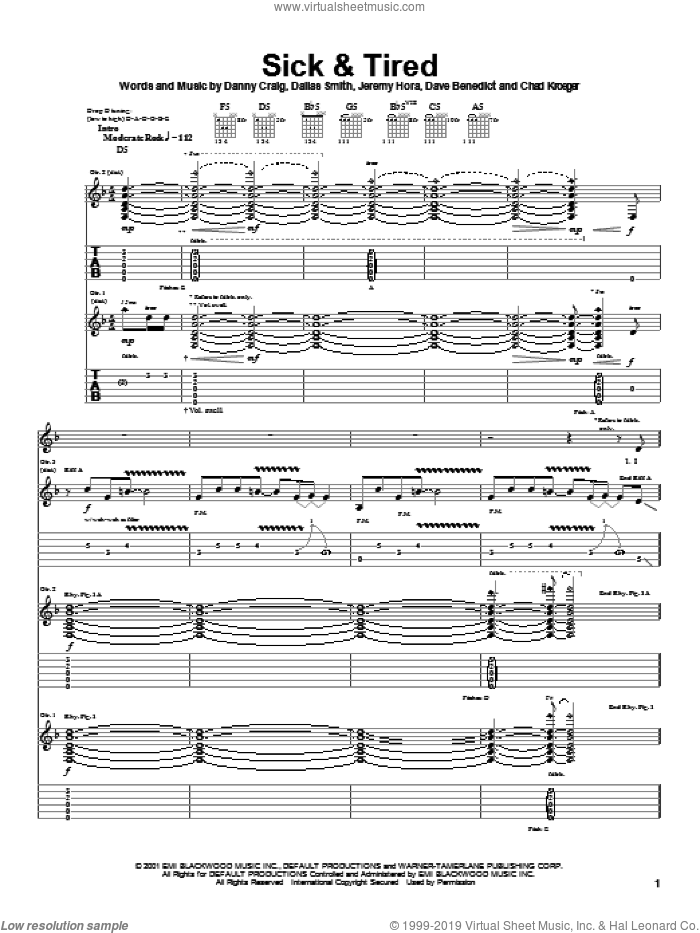 Sick and Tired sheet music for guitar (tablature) by Default, Chad Kroeger, Dallas Smith and Danny Craig, intermediate skill level