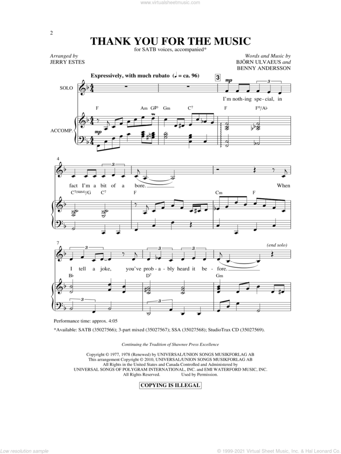 Thank You For The Music (arr. Jerry Estes) sheet music for choir (SATB: soprano, alto, tenor, bass) by Benny Andersson, Bjorn Ulvaeus, ABBA and Jerry Estes, intermediate skill level