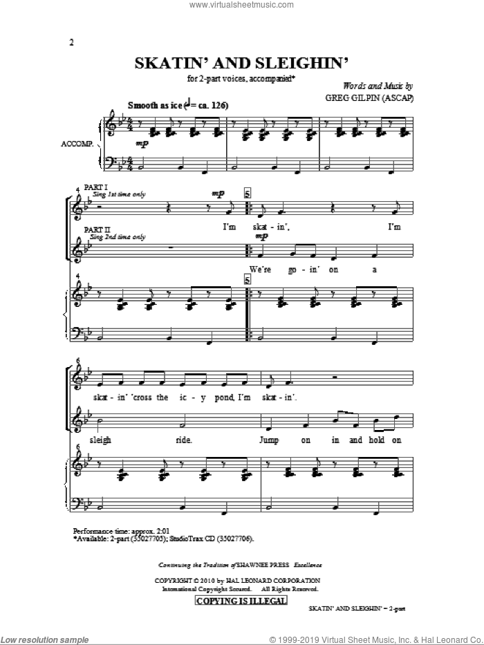 Skatin' And Sleighin' sheet music for choir (2-Part) by Greg Gilpin, intermediate duet