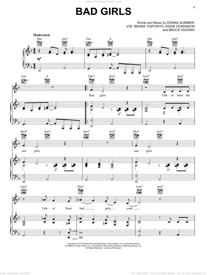 Bad Girls sheet music for voice, piano or guitar by Donna Summer, Bruce Sudano, Edward Hokenson and Joe 'Beans' Esposito, intermediate skill level