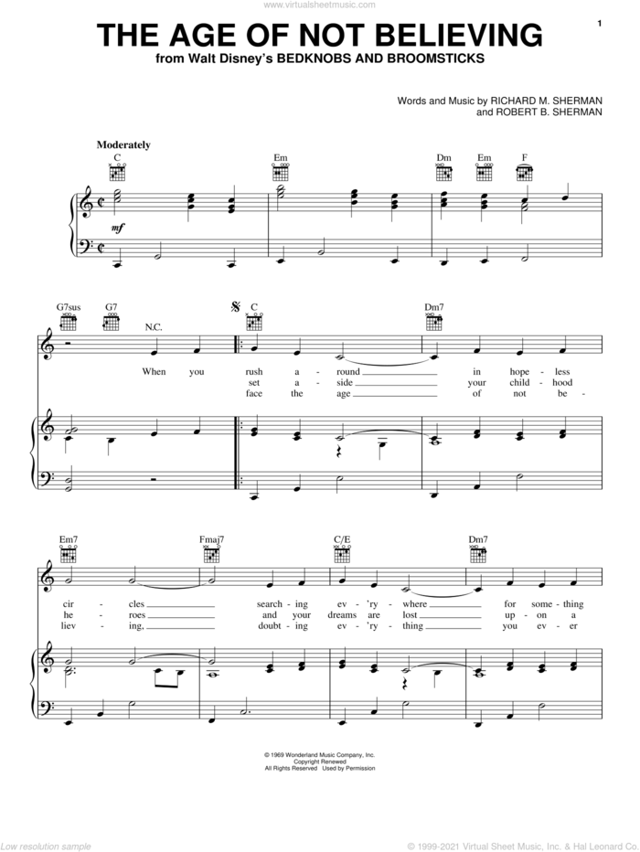 The Age Of Not Believing sheet music for voice, piano or guitar by Angela Lansbury, Sherman Brothers, Richard M. Sherman and Robert B. Sherman, intermediate skill level