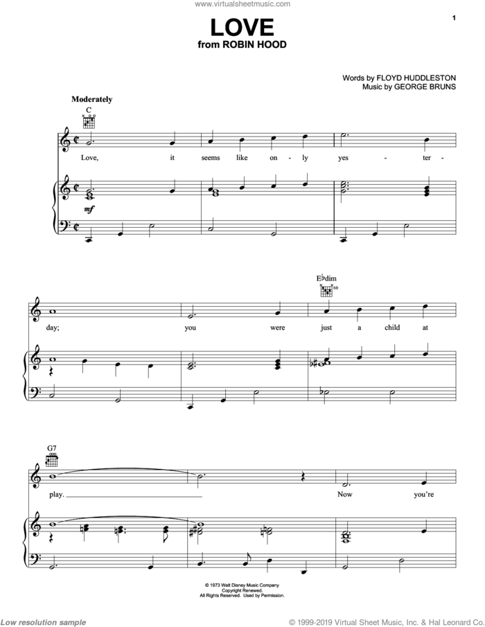 Love sheet music for voice, piano or guitar by George Bruns and Floyd Huddleston, intermediate skill level
