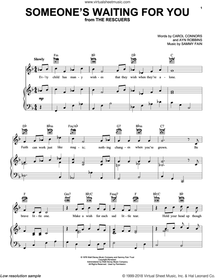 Someone's Waiting For You sheet music for voice, piano or guitar by Sammy Fain, Ayn Robbins and Carol Connors, intermediate skill level