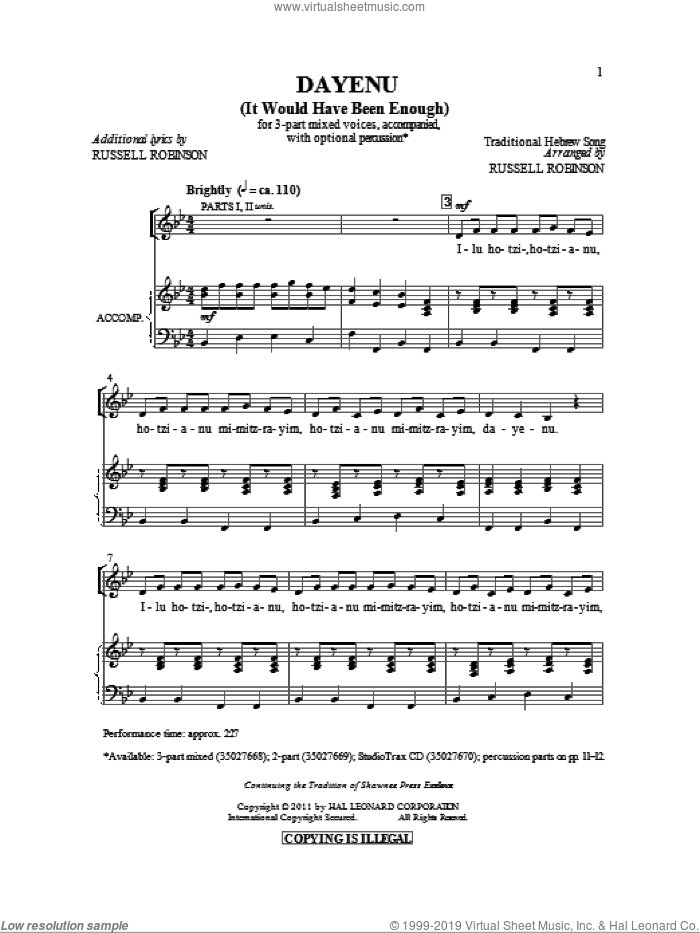 Dayeinu (arr. Russell Robinson) sheet music for choir (3-Part Mixed) by Russell Robinson and Miscellaneous, intermediate skill level