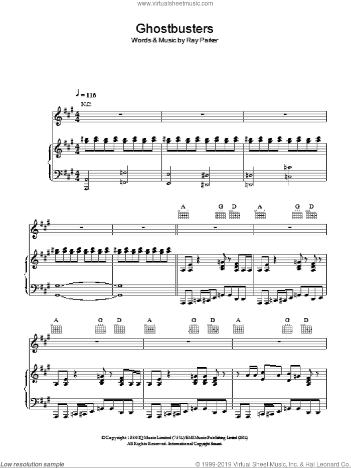 Ghostbusters sheet music for voice, piano or guitar by Ray Parker Jr., intermediate skill level