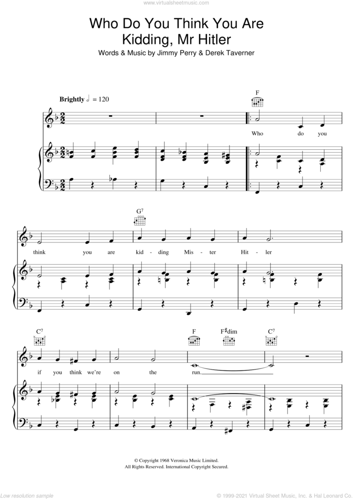 Who Do You Think You Are Kidding, Mr. Hitler? (theme from Dad's Army) sheet music for voice, piano or guitar by Jimmy Perry, Bud Flanagan and Derek Taverner, intermediate skill level