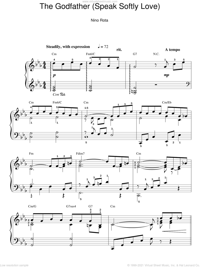 Love Theme from The Godfather sheet music for piano solo by Nino Rota, easy skill level