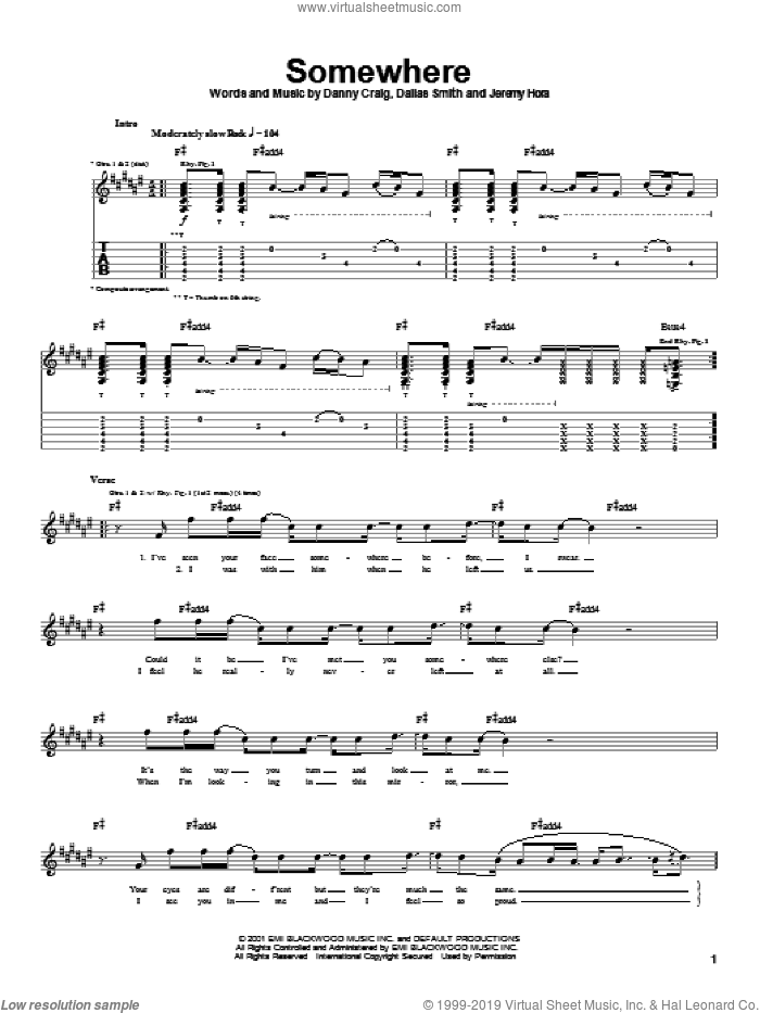 Somewhere sheet music for guitar (tablature) by Default, Dallas Smith, Danny Craig and Jeremy Hora, intermediate skill level