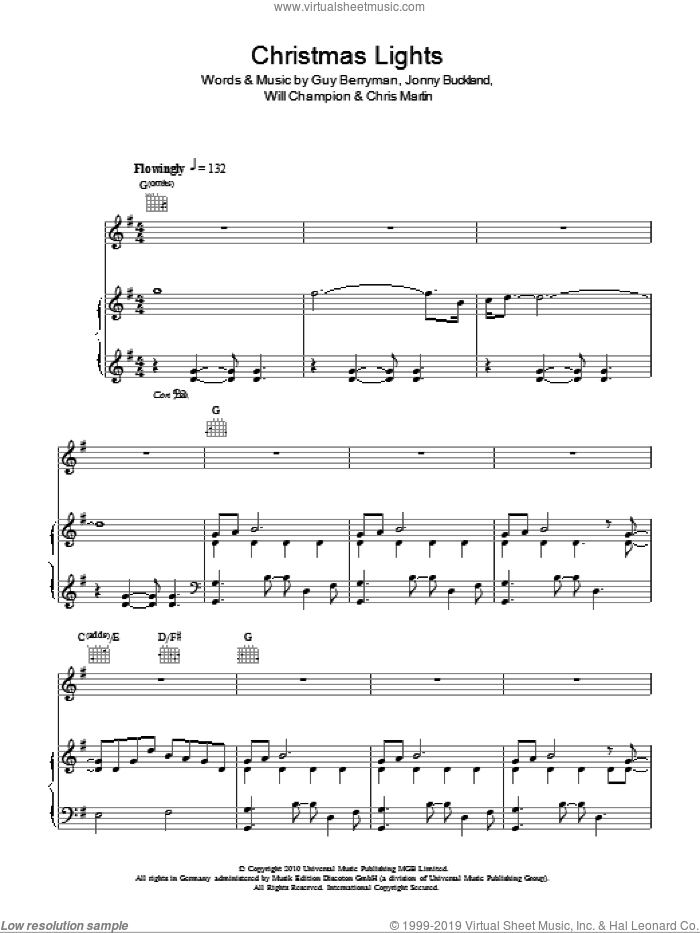 Christmas Lights sheet music for voice, piano or guitar by Coldplay, Chris Martin, Guy Berryman, Jonny Buckland and Will Champion, intermediate skill level