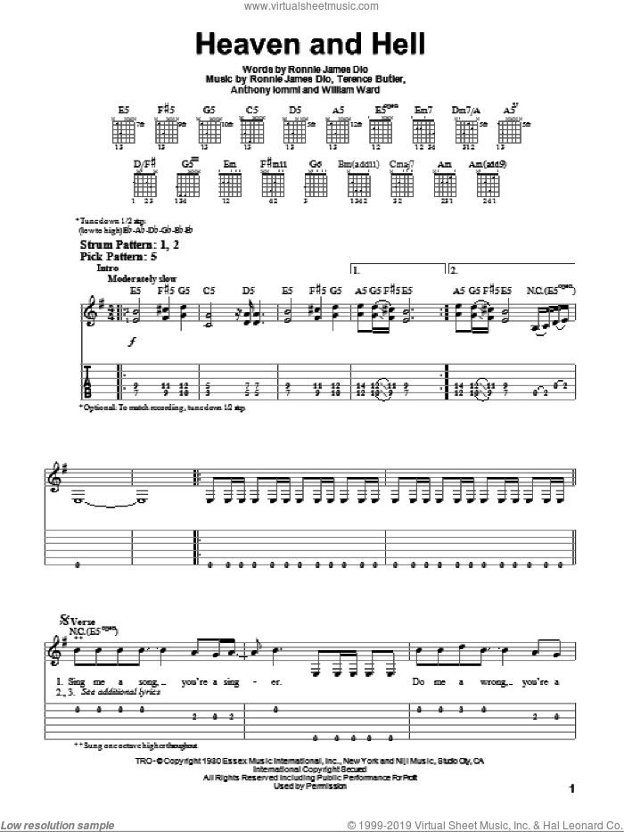 Heaven And Hell sheet music for guitar solo (easy tablature) by Black Sabbath, Dio, Anthony Iommi, Ronnie James Dio, Terence Butler and William Ward, easy guitar (easy tablature)