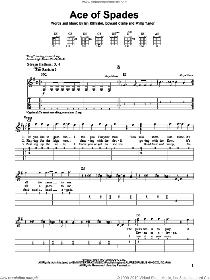 Ace Of Spades sheet music for guitar solo (easy tablature) by Motorhead, Edward Clarke, Ian Kilmister and Philip Taylor, easy guitar (easy tablature)