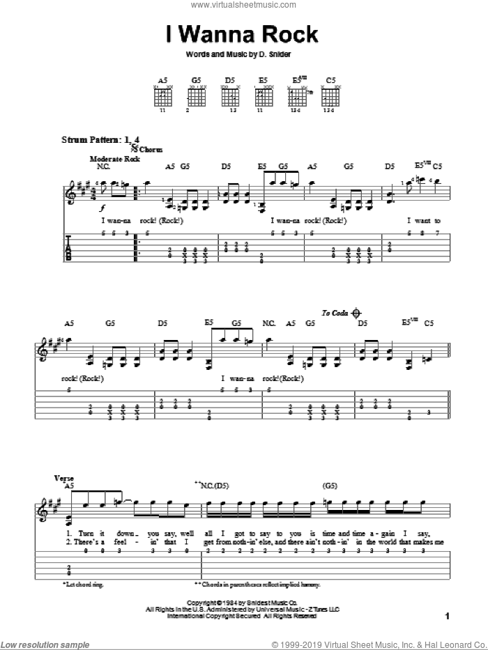 I Wanna Rock sheet music for guitar solo (easy tablature) by Twisted Sister and Dee Snider, easy guitar (easy tablature)