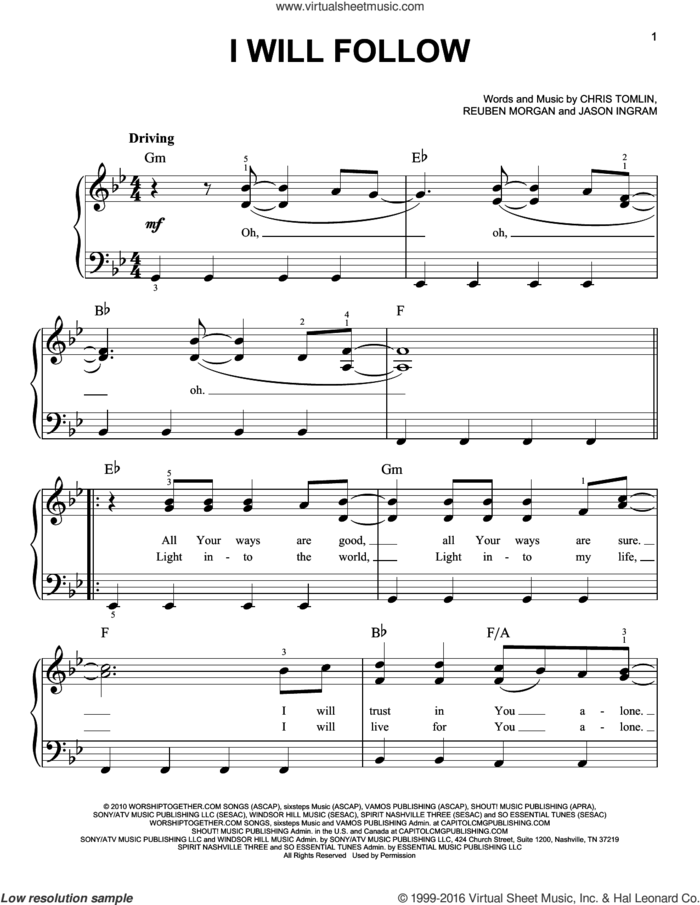 I Will Follow sheet music for piano solo by Chris Tomlin, Jason Ingram and Reuben Morgan, easy skill level