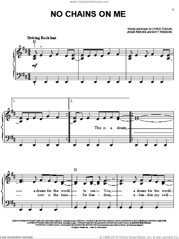 No Chains On Me sheet music for piano solo by Chris Tomlin, Jesse Reeves and Matt Redman, easy skill level