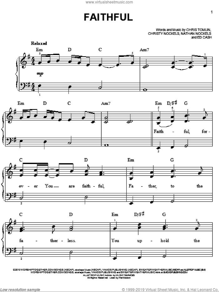 Faithful sheet music for piano solo by Chris Tomlin, Christy Nockels, Ed Cash and Nathan Nockels, easy skill level
