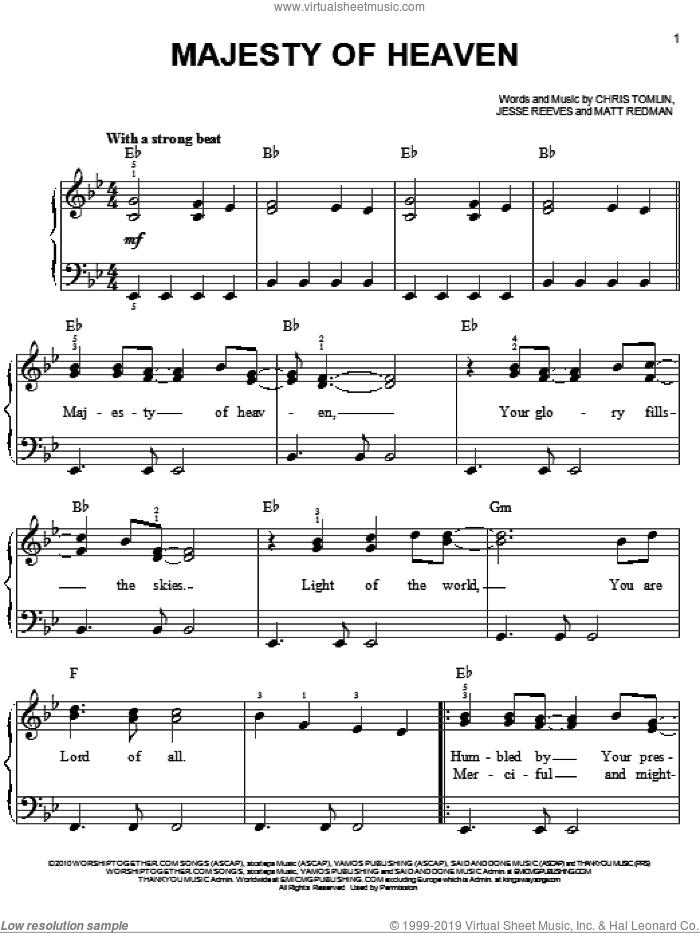Majesty Of Heaven sheet music for piano solo by Chris Tomlin, Jesse Reeves and Matt Redman, easy skill level