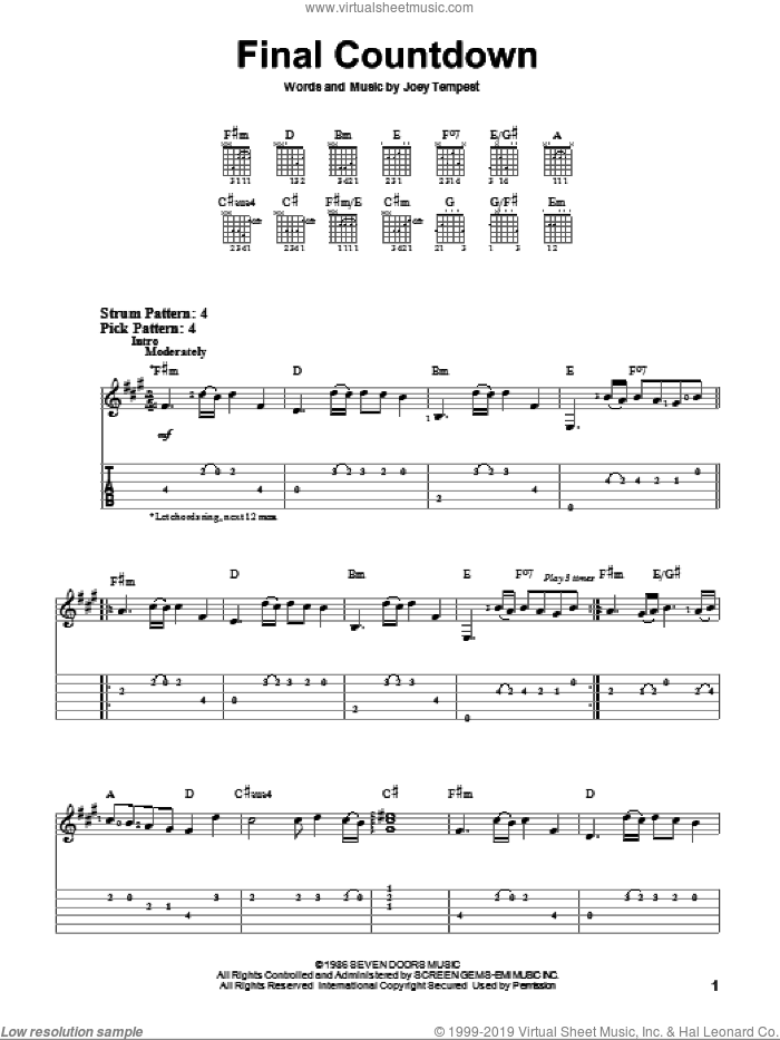 Final Countdown sheet music for guitar solo (easy tablature) by Europe and Joey Tempest, easy guitar (easy tablature)