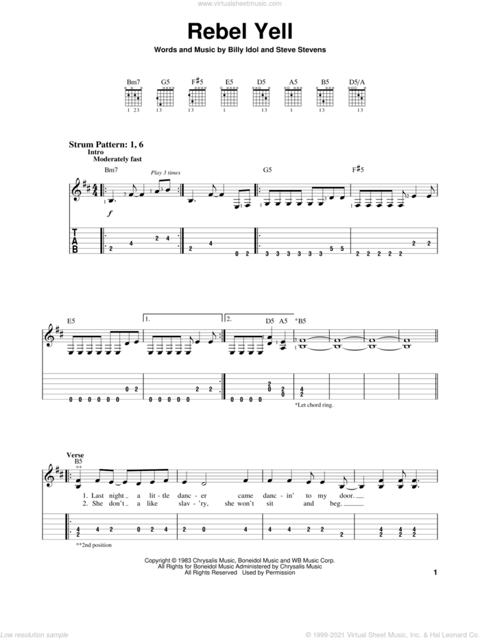 Rebel Yell sheet music for guitar solo (easy tablature) by Billy Idol and Steve Stevens, easy guitar (easy tablature)