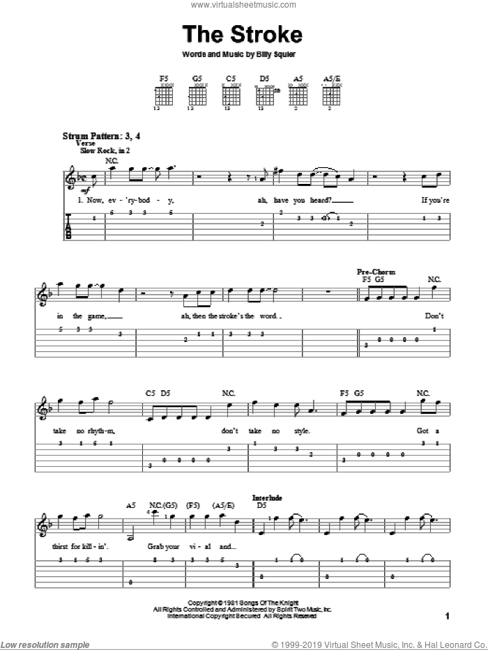 The Stroke sheet music for guitar solo (easy tablature) by Billy Squier, easy guitar (easy tablature)