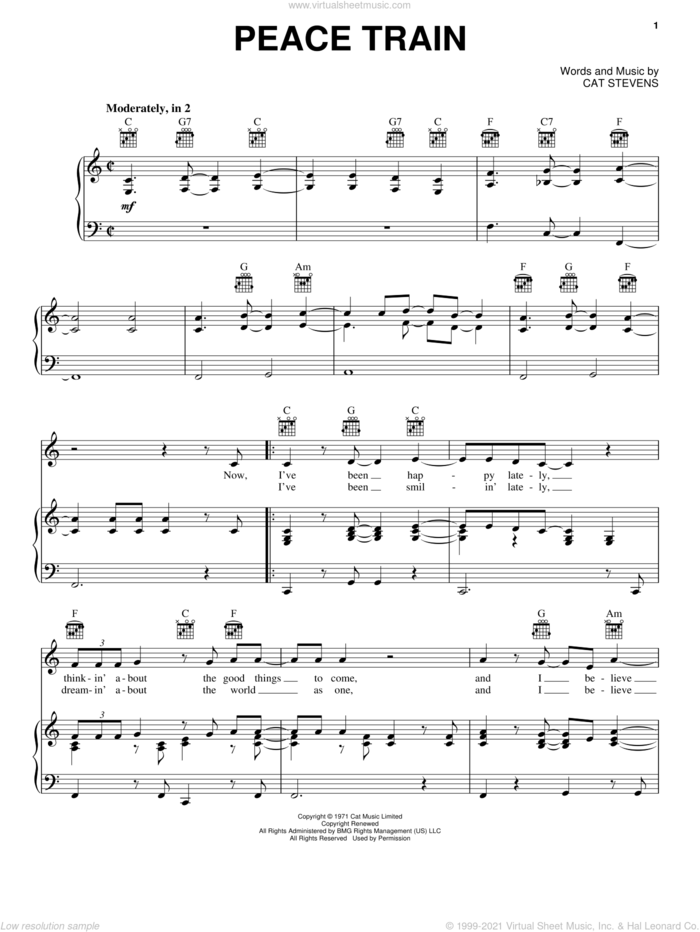 Peace Train sheet music for voice, piano or guitar by Cat Stevens, intermediate skill level