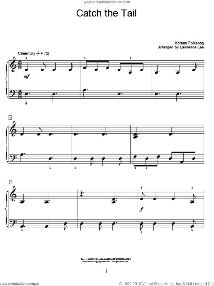 Catch The Tail sheet music for piano solo (elementary)  and Lawrence Lee, beginner piano (elementary)