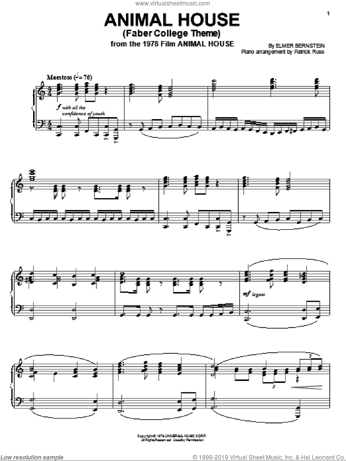 Animal House sheet music for piano solo by Elmer Bernstein, intermediate skill level