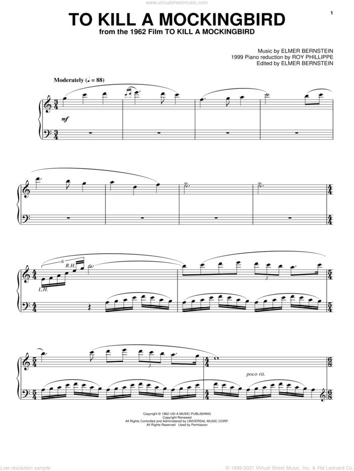 To Kill A Mockingbird, (intermediate) sheet music for piano solo by Elmer Bernstein, intermediate skill level