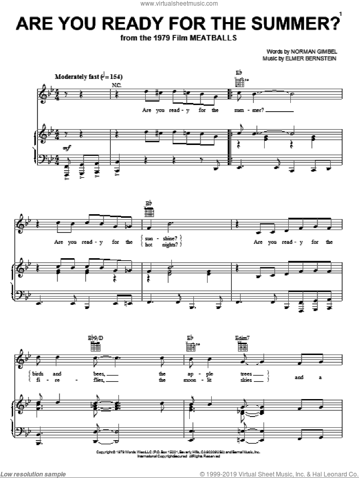 Are You Ready For The Summer? sheet music for voice, piano or guitar by Elmer Bernstein, Lisa Loeb and Norman Gimbel, intermediate skill level