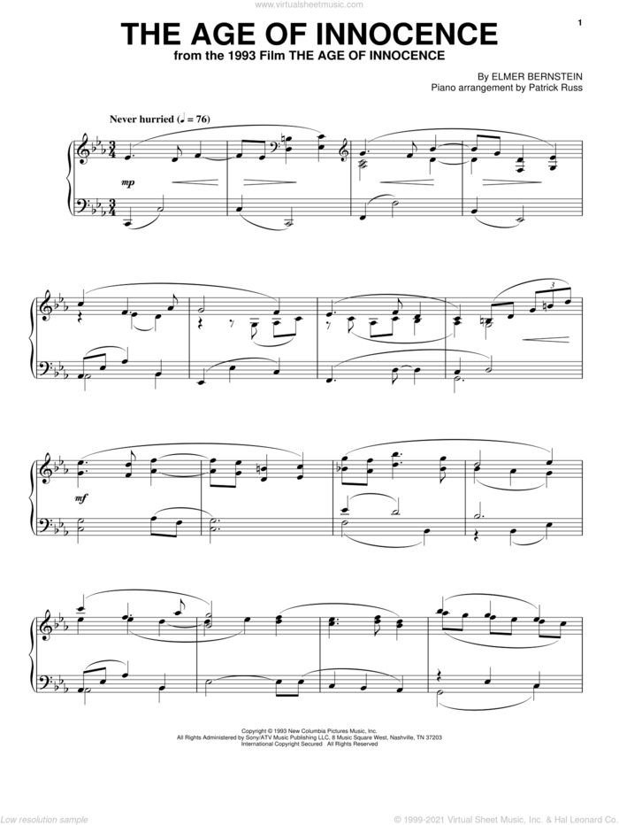 The Age Of Innocence sheet music for piano solo by Elmer Bernstein, intermediate skill level