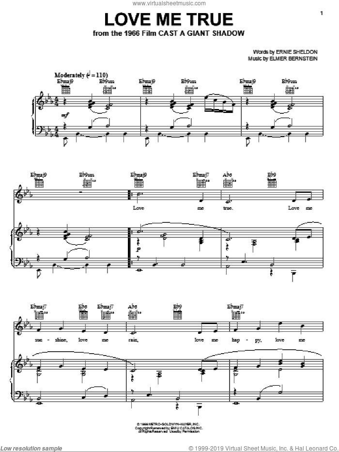 Love Me True sheet music for voice, piano or guitar by Elmer Bernstein and Ernie Sheldon, intermediate skill level