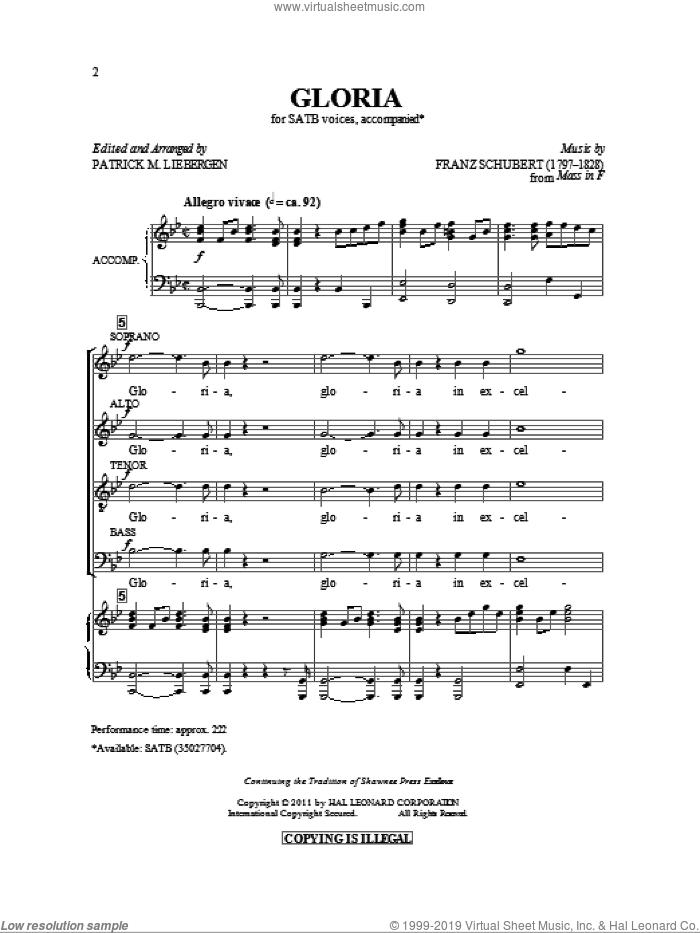 Gloria sheet music for choir (SATB: soprano, alto, tenor, bass) by Franz Schubert and Patrick Liebergen, classical score, intermediate skill level
