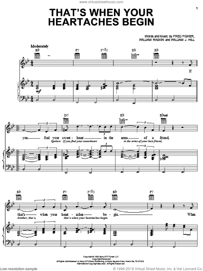 That's When Your Heartaches Begin sheet music for voice, piano or guitar by Elvis Presley, Fred Fisher, William J. Hill and William Raskin, intermediate skill level