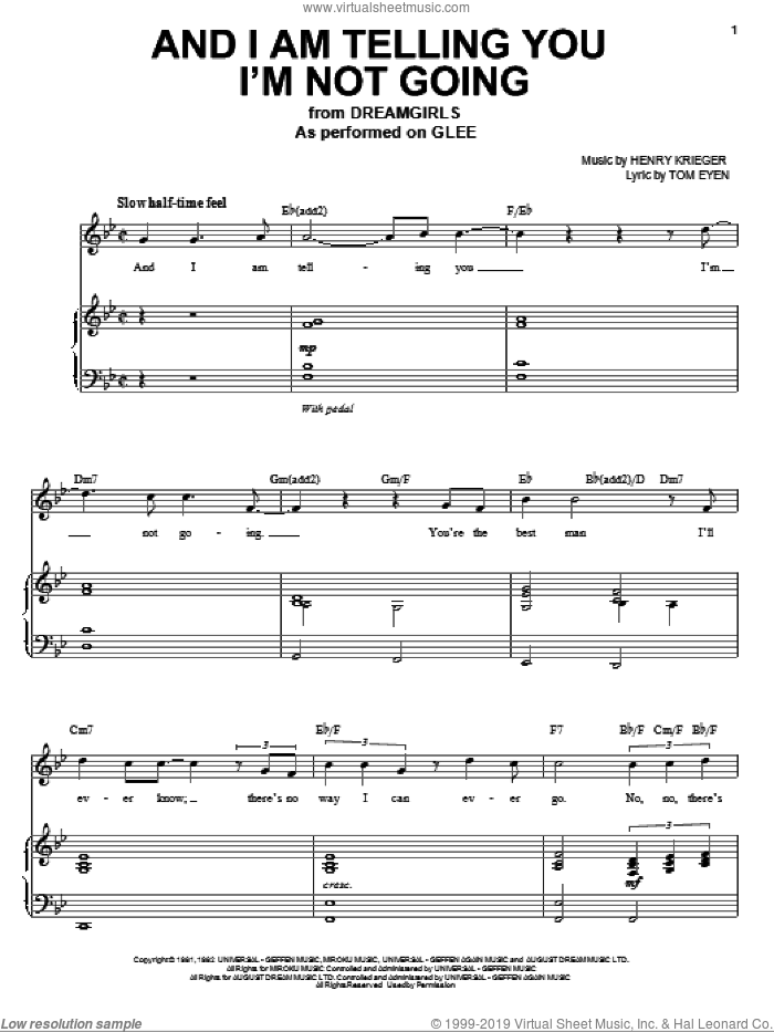 And I Am Telling You I'm Not Going sheet music for voice and piano by Glee Cast, Jennifer Holliday, Jennifer Hudson, Miscellaneous, Henry Krieger and Tom Eyen, intermediate skill level