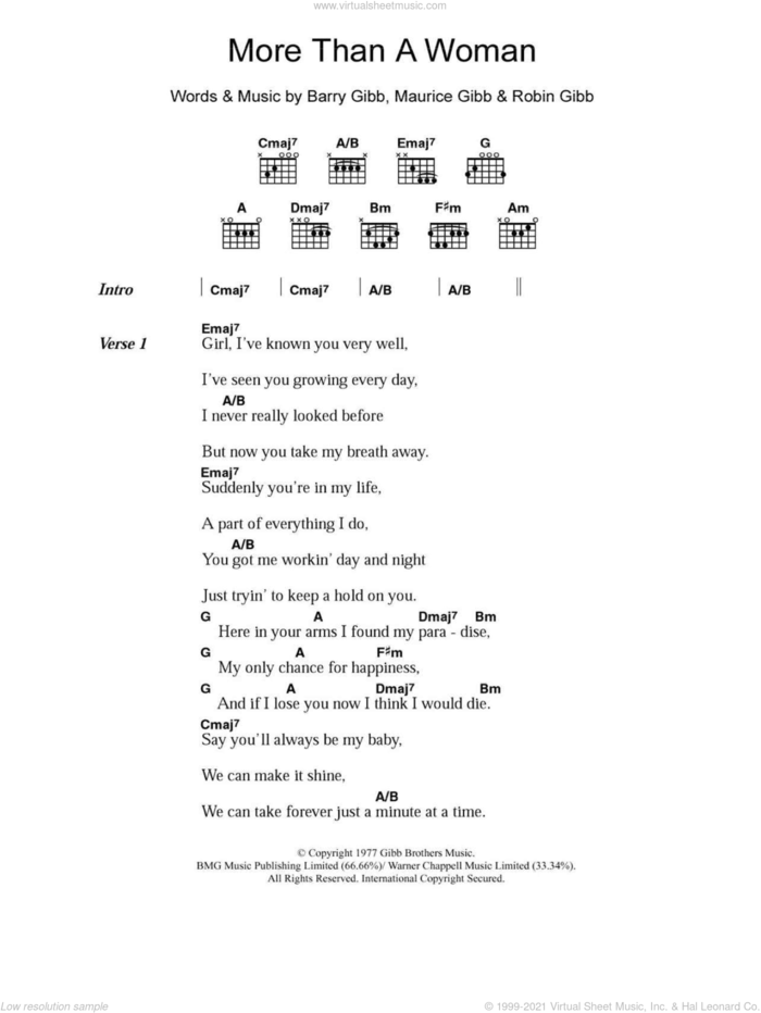 More Than A Woman sheet music for guitar (chords) by Bee Gees, Barry Gibb, Maurice Gibb and Robin Gibb, intermediate skill level