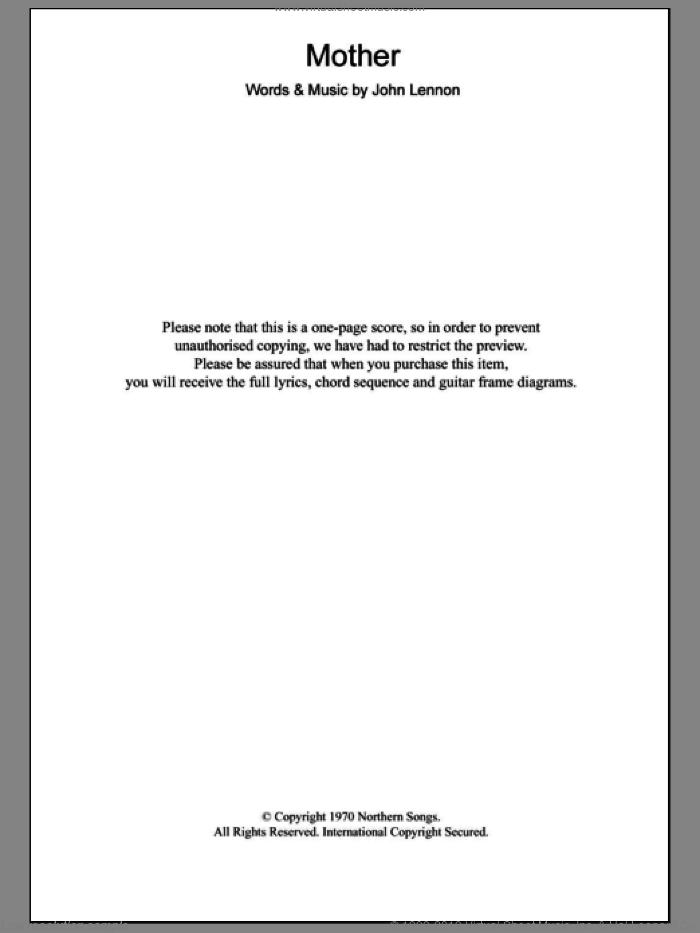 Mother sheet music for guitar (chords) by John Lennon, intermediate skill level