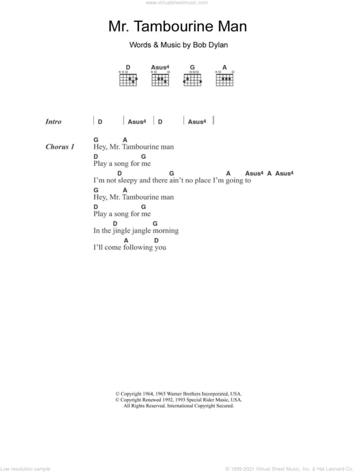 Mr. Tambourine Man sheet music for guitar (chords) by The Byrds and Bob Dylan, intermediate skill level